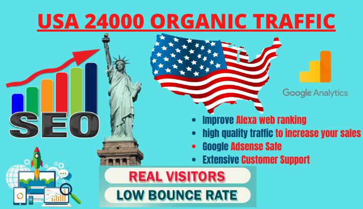 keywords targeted USA organic web traffic