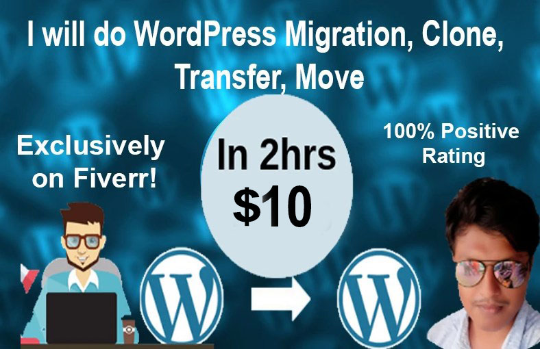 Wordpress Migration,  Clone,  Transfer,  Move In 2hrs upto 1gb
