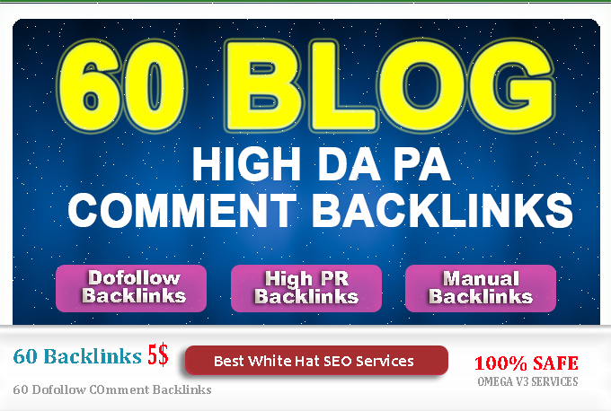 Create 60 dofollow blog comments backlink high da pa