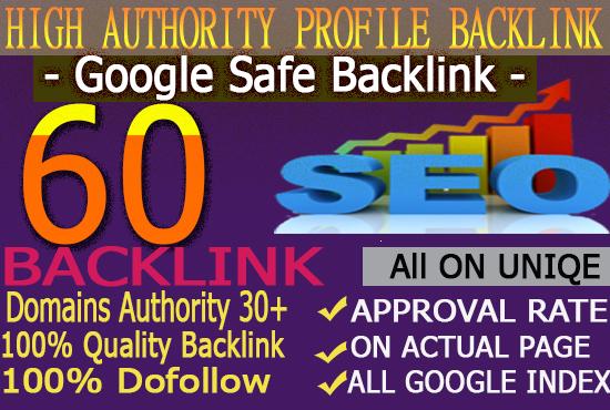 Manually Create 60+ High Dofollow Authority Profile Backlinks