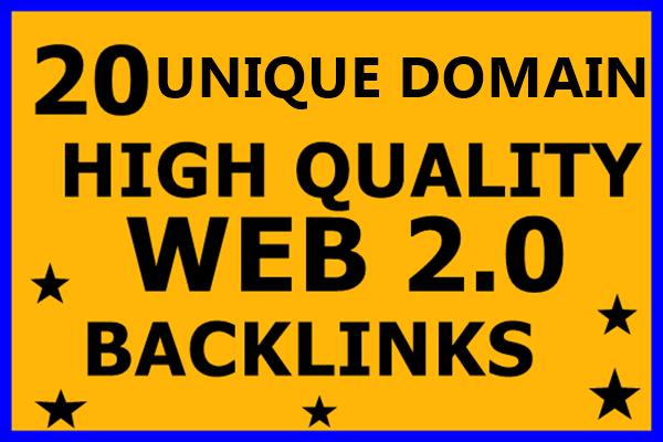 Create 20 Unique Domain Web2.0 Backlinks High DA, PA...