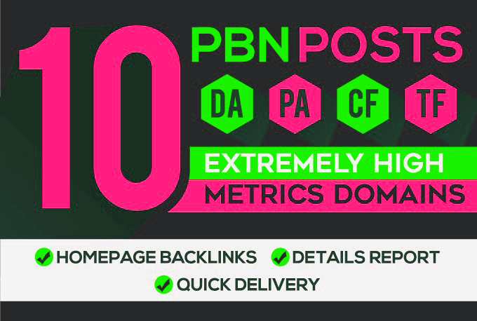 Create 10 HomePage PBN Backlinks All Dofollow High Quality Backlinks