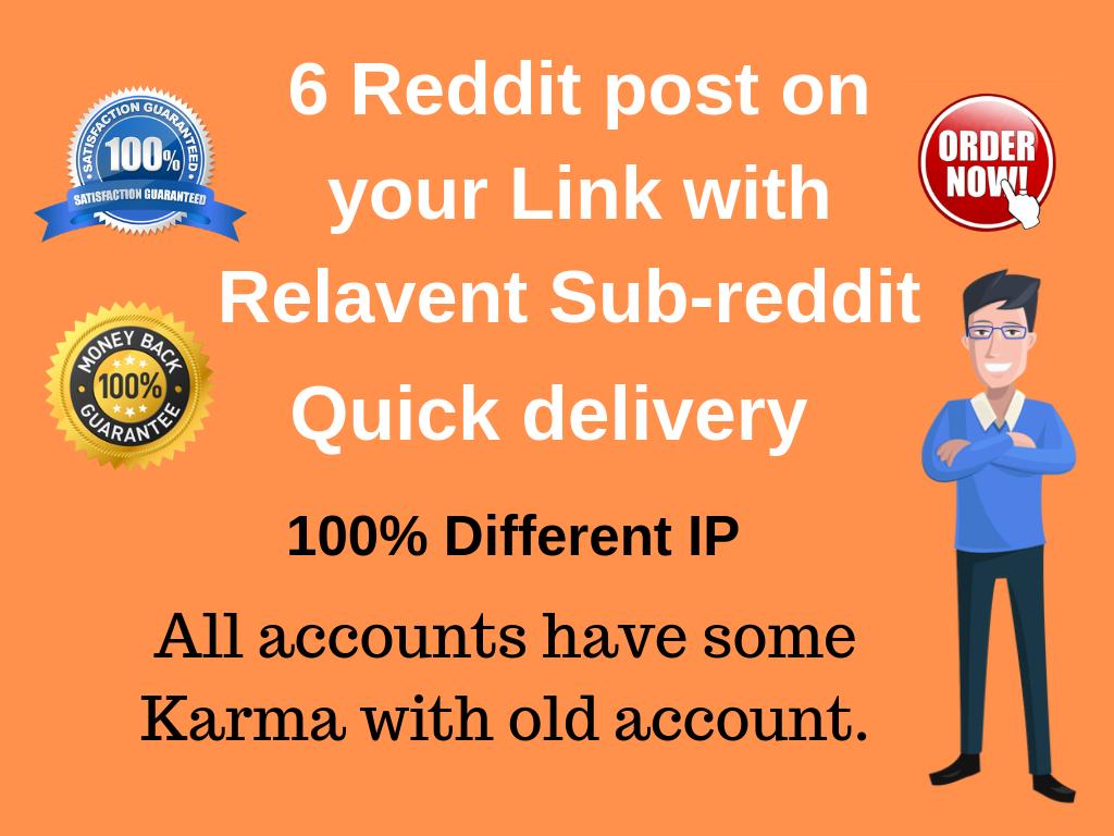 Get targeted traffic 6 Reddit post on your link with Relevant Sub-Reddit