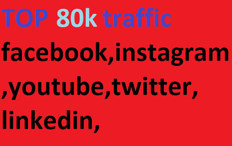 80k, boost website keyword real organic targeted web traffic,  facebook,  instagram,  youtube,  twitter