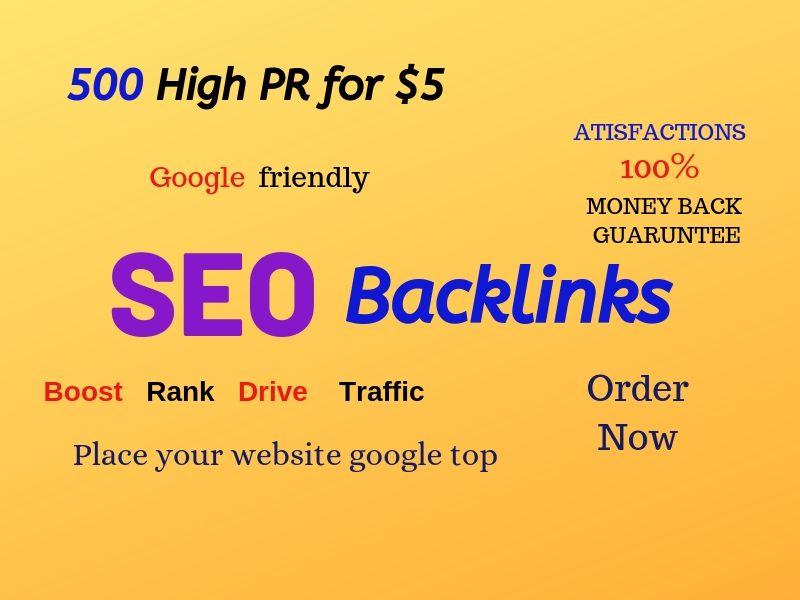 500 HIGH PR BACKLINKS FOR ANY WEBSITE