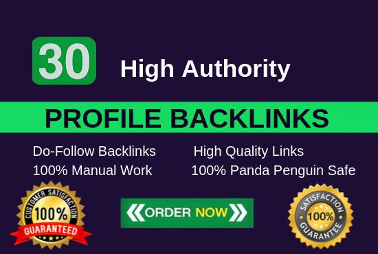 Manually Create 30 pr9 da 90 dofollow profile backlinks