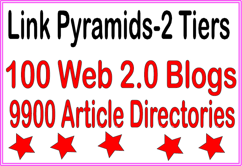 SEO Pyramids - 9900 Article directories &. 100 Web 2.0 blogs Tiered Backlinks For SEO