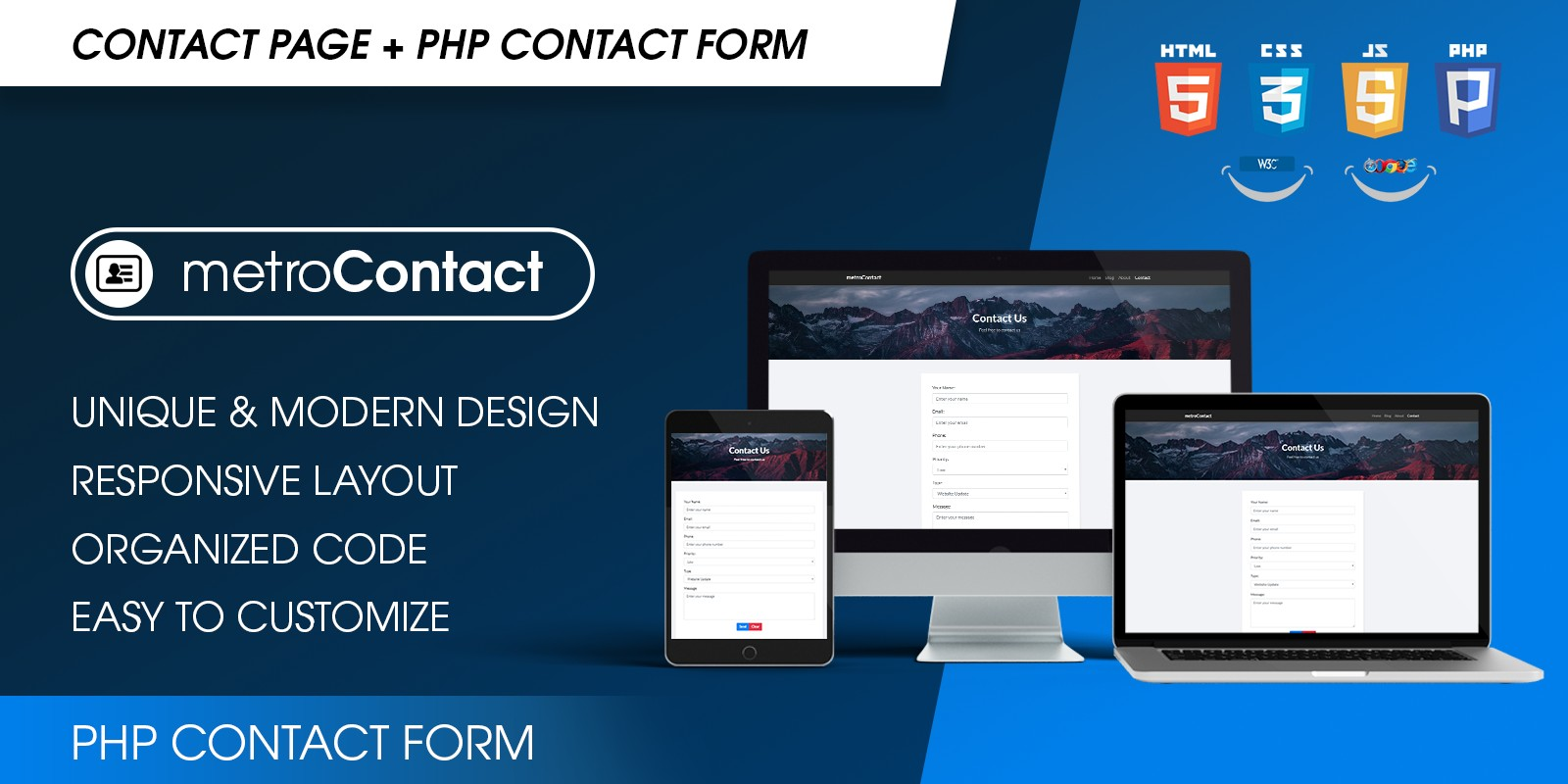 Awesome PHP Contact Form Responsive Template