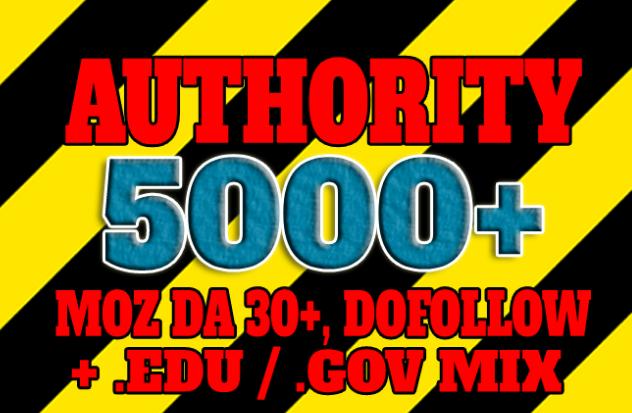 Get 5001+ DA 30+,  dofollow,  EDU and GOV backlinks mix
