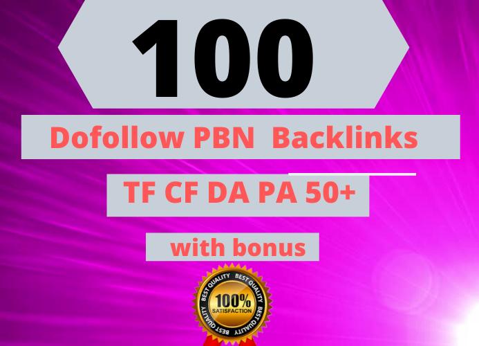 100 Manual HIGH TF CF DA PA 50+ to 100 Dofollow PBN Backlinks