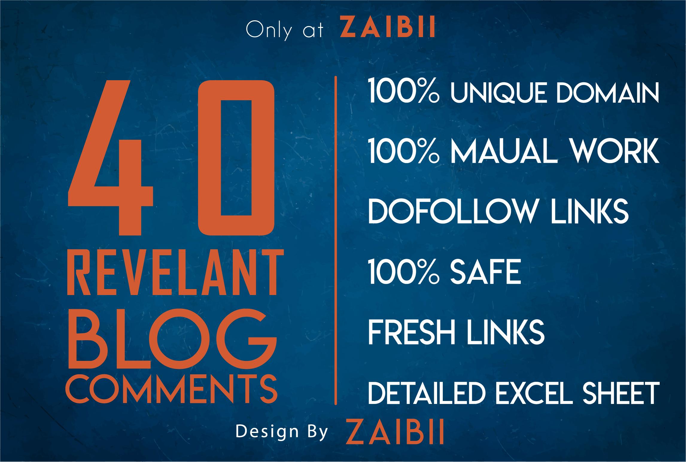 Provide 40 Niche Relevant Blog Comment