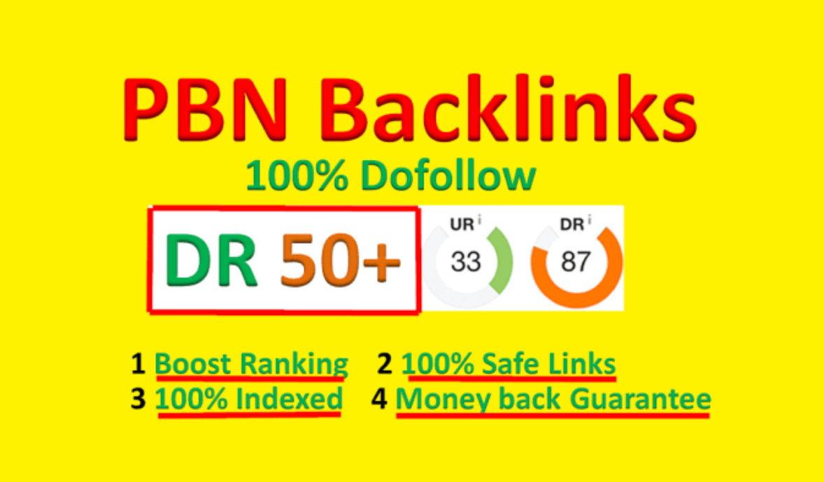 I will create 100 dofollow pbn backlins with DR 50+ and TF 20 to 30+ authority