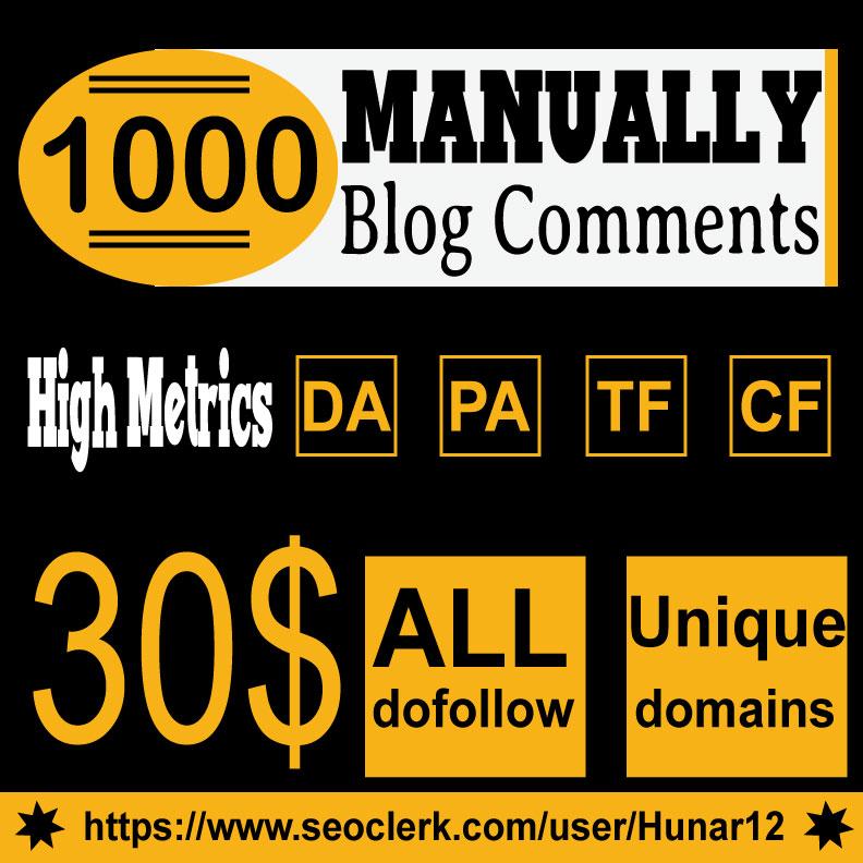 Do 1000 HQ Blog Comment Dofollow Backlinks