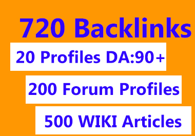 720 backlinks profiles, forum, wiki