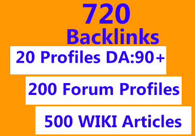720 backlinks profiles, forum, wiki