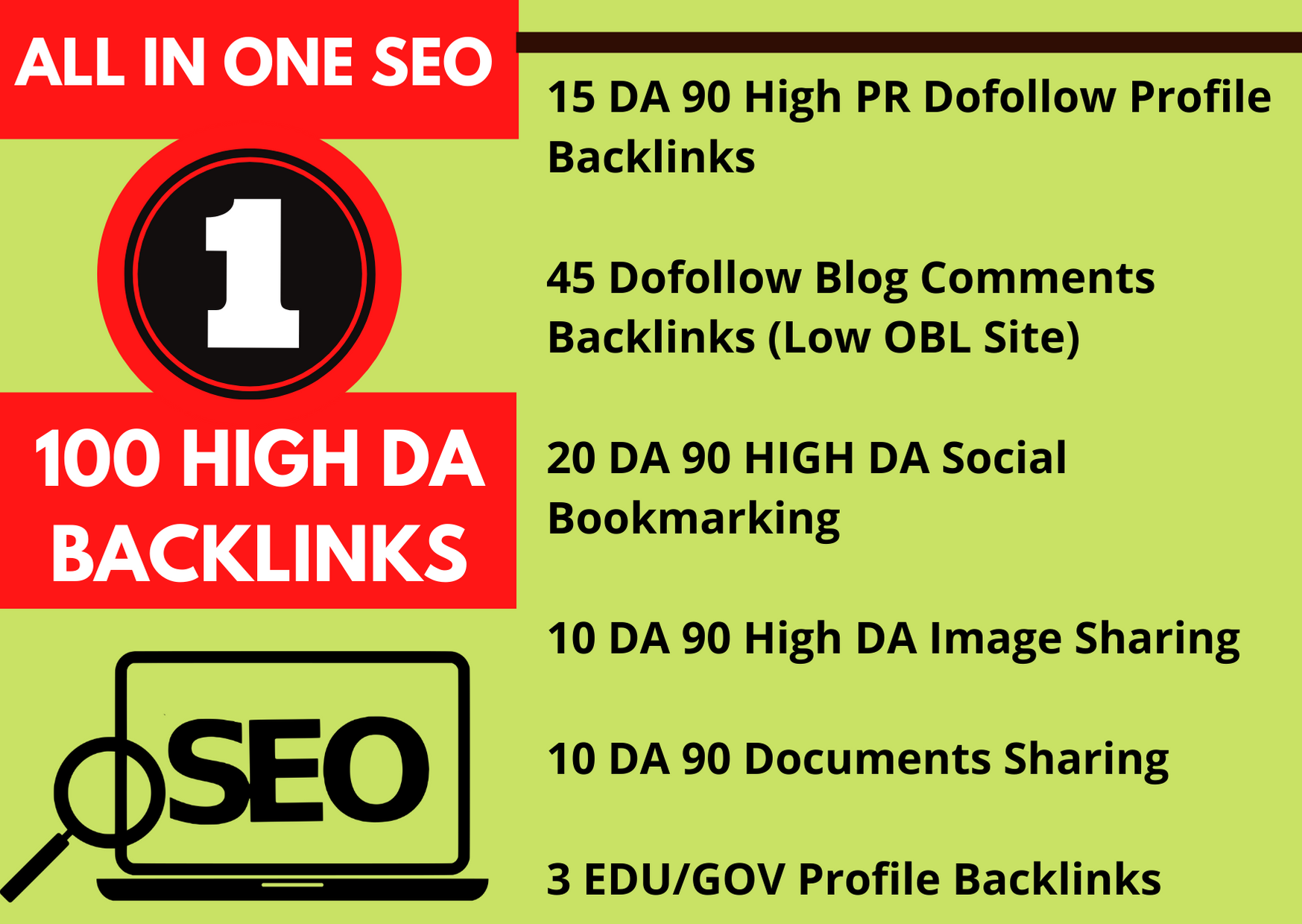 100 trusted high da authority backlinks for off page SEO