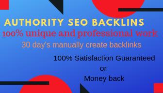 30 days SEO backlinks manually help to rank your website on google