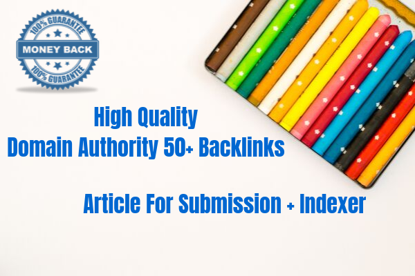 Manual 20 Domain Authority 50+ High Quality Backlinks Very High Indexer