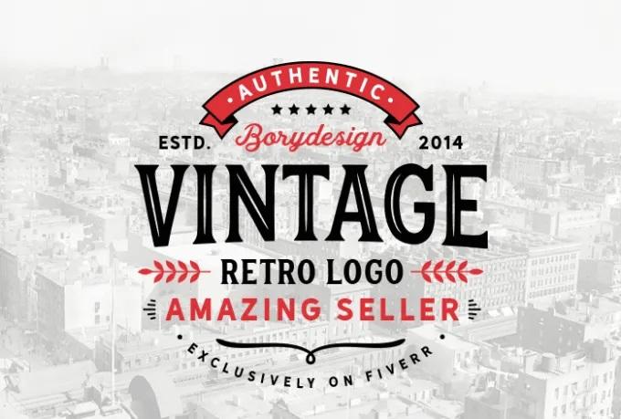 I will do retro vintage logo design