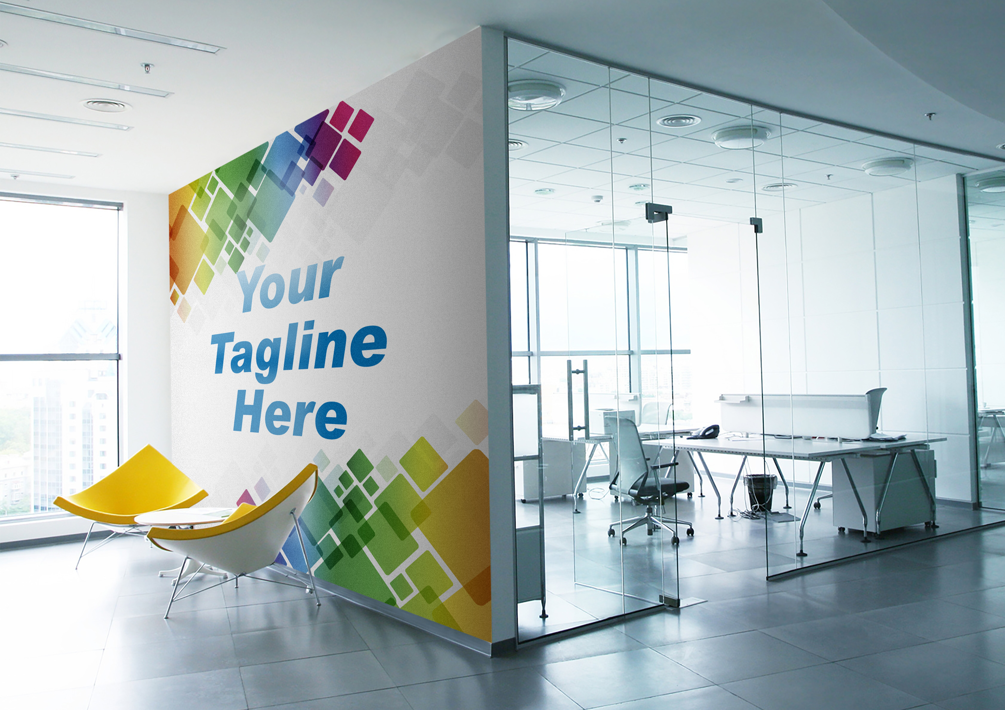 Display your logo or Message on walls mockups 4 designs