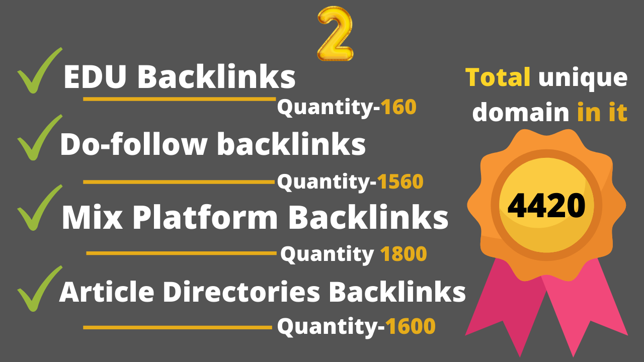 5100 plus seo backlinks from. EDU,  Dofollow,  Article directories and Mix platforms backlinks