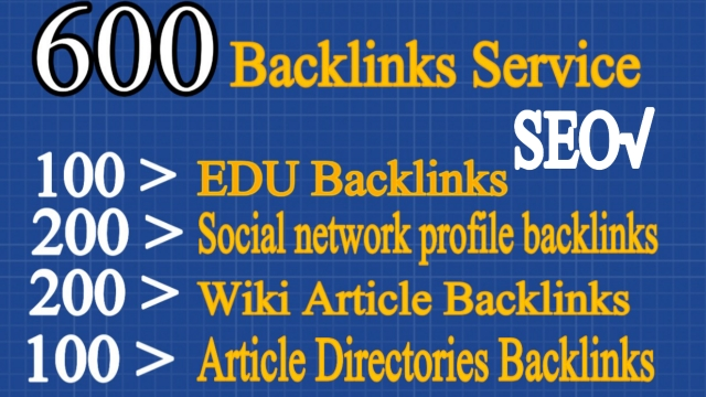 600 backlinks 100 EDU,  200 wiki,  200 social network and 100 article directories