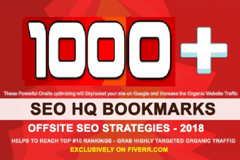 Do 1000 HQ Social Bookmarks Backlinks With DA-PA-TF, 100-40 for your Website,  Keyword and Youtube
