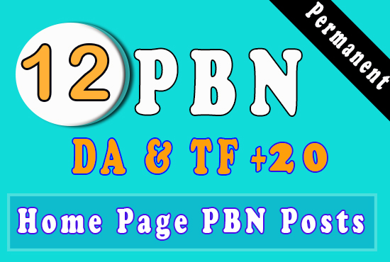 12 High PA DA TF CF HomePage PBN Backlinks - Dofollow Quality Links