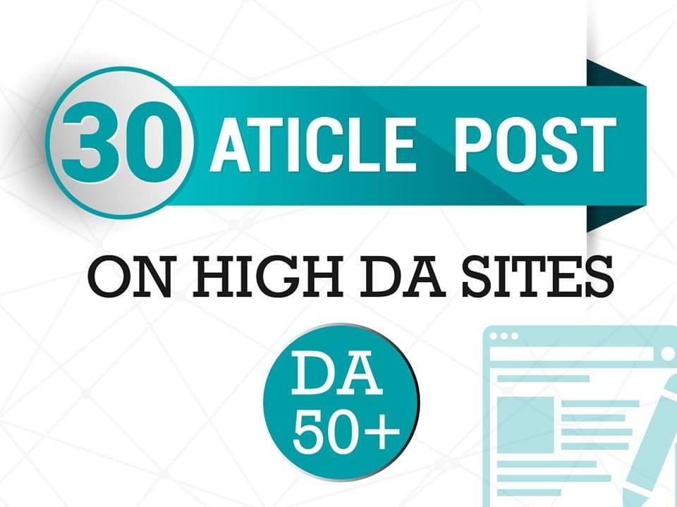 30 Unique Article Submission Backlink all Unique Domain