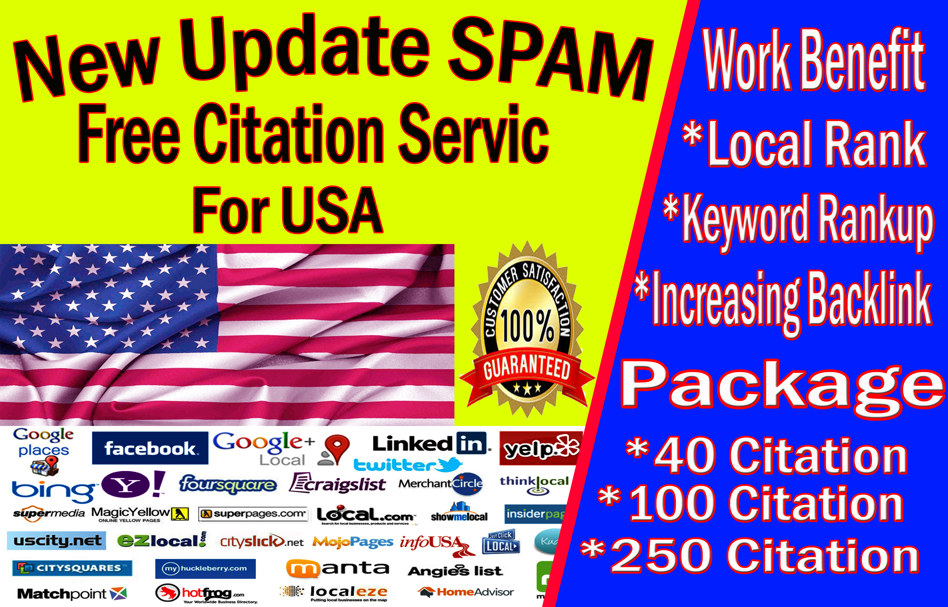 40 Low spam score local seo citation for USA