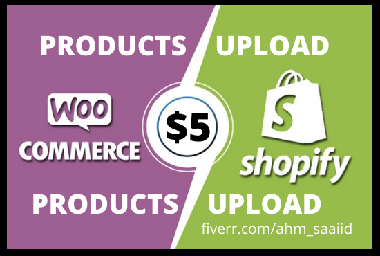 upload products in woocommerce and shopify store