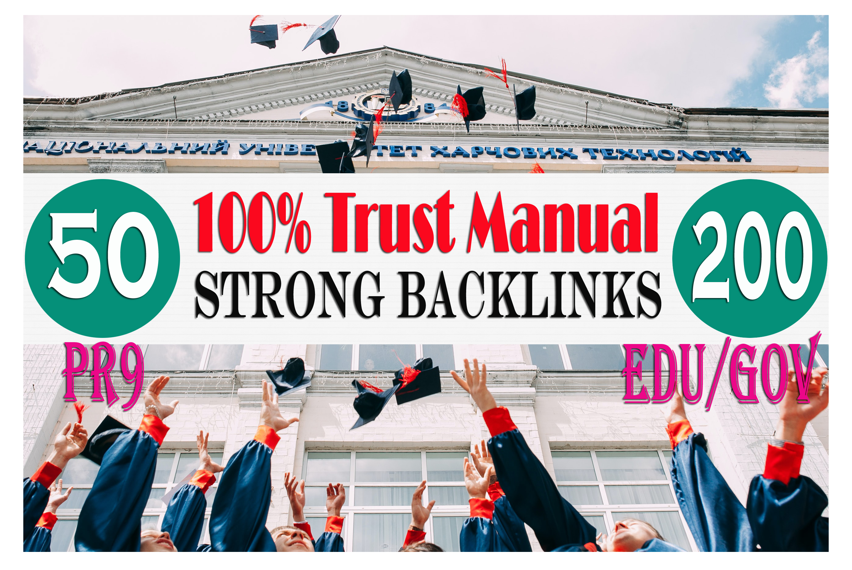 100Percent trust manually do 50 PR9 +200 USA Based EDU and GOV Safe SEO Powerful/HQ Backlinks