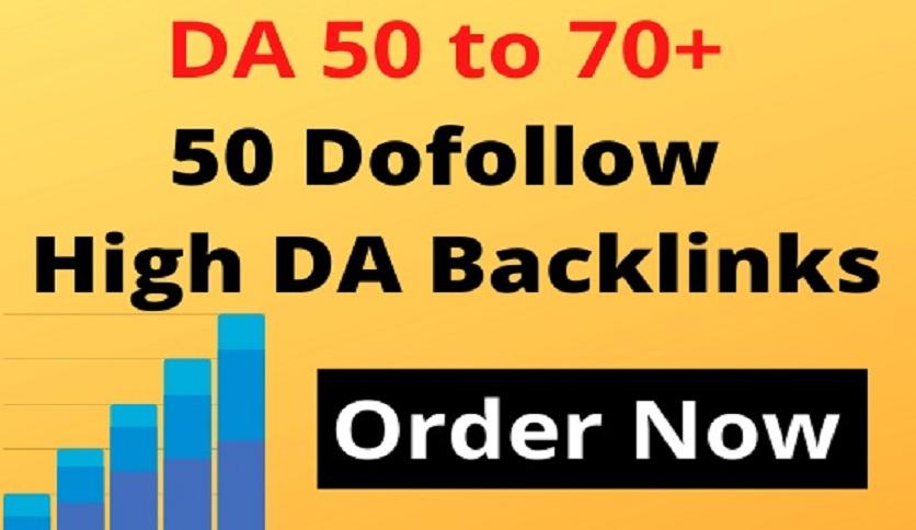 50 dofollow high da backlinks,  off page SEO