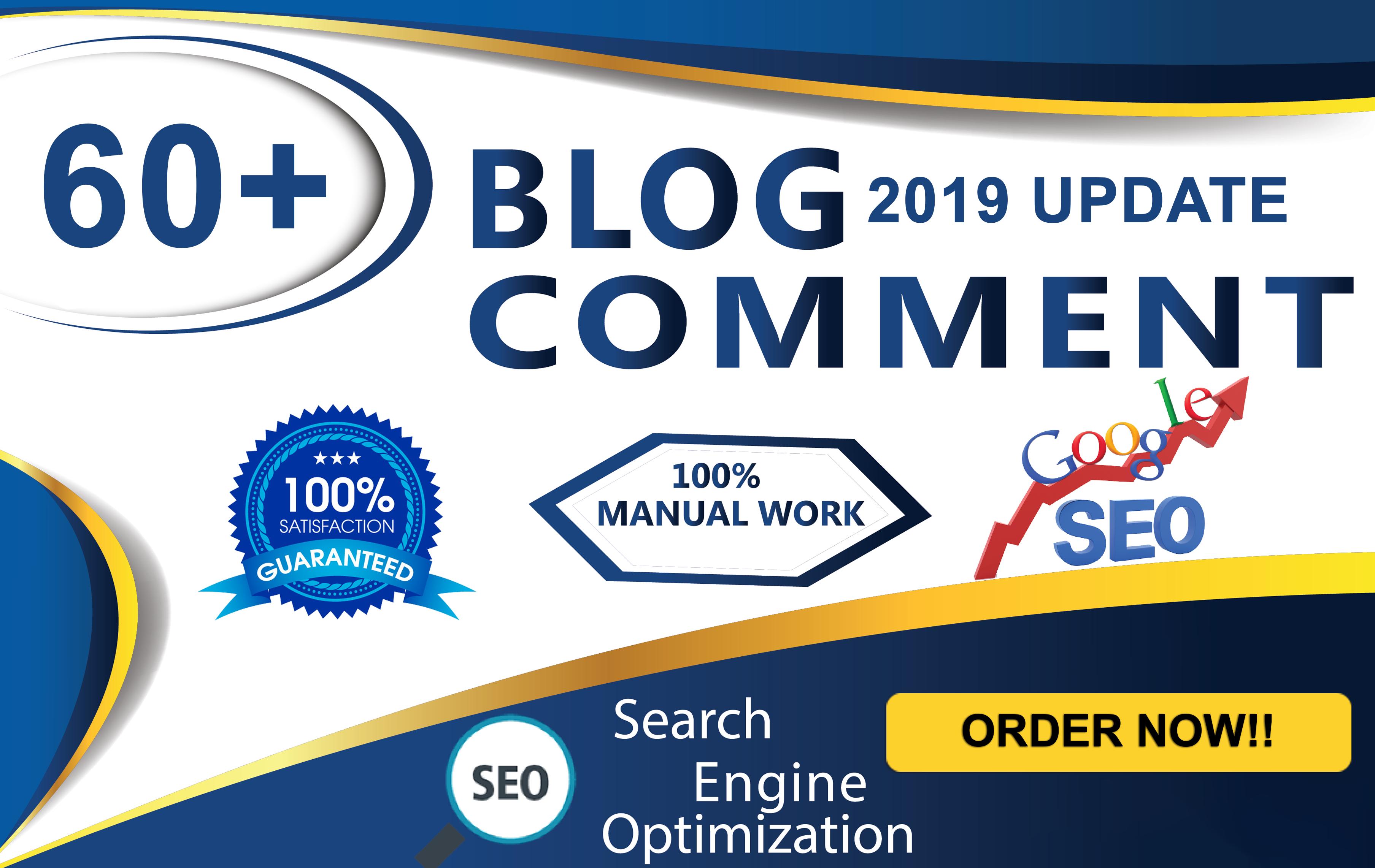 Do 60 unique domain dofollow blog comments backlinks DA 40+