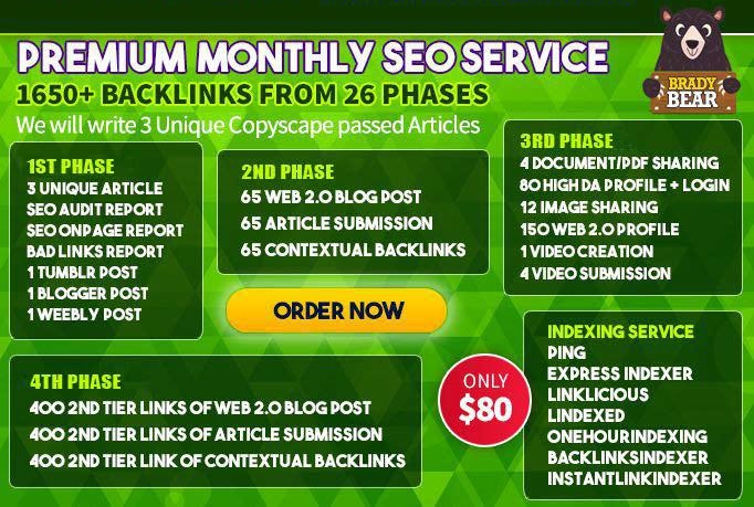 Premium Monthly SEO Service,  High Quality Backlinks