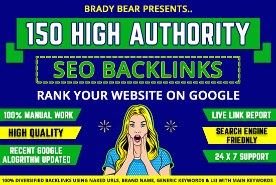 150 High Authority SEO Backlinks to Rank the website in Google