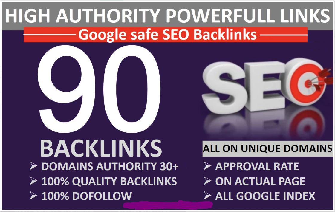 I will build 90 unique domain SEO backlinks HIGH DA PA