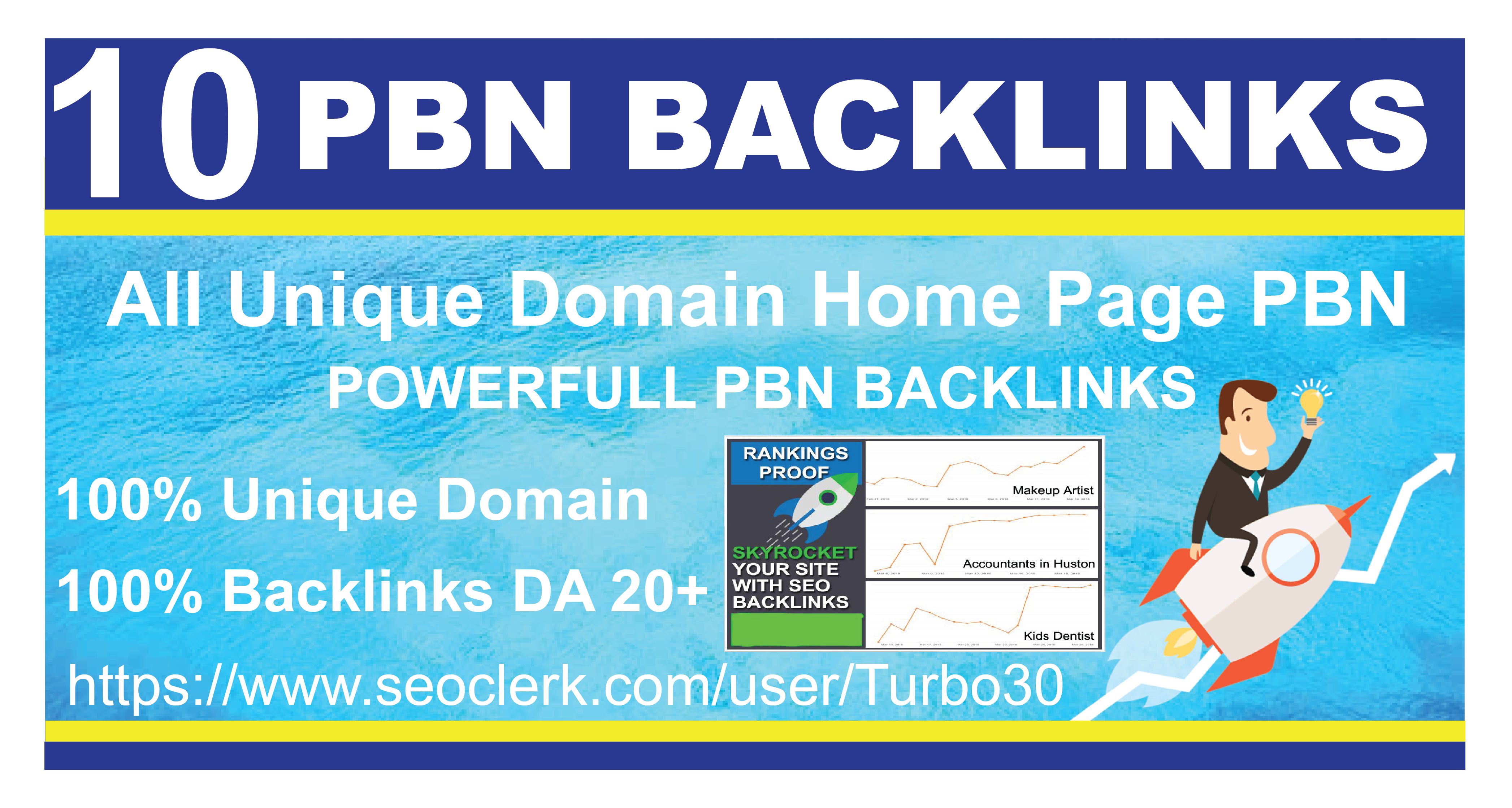 I will do 10 home page PBN Backlinks DA 20+