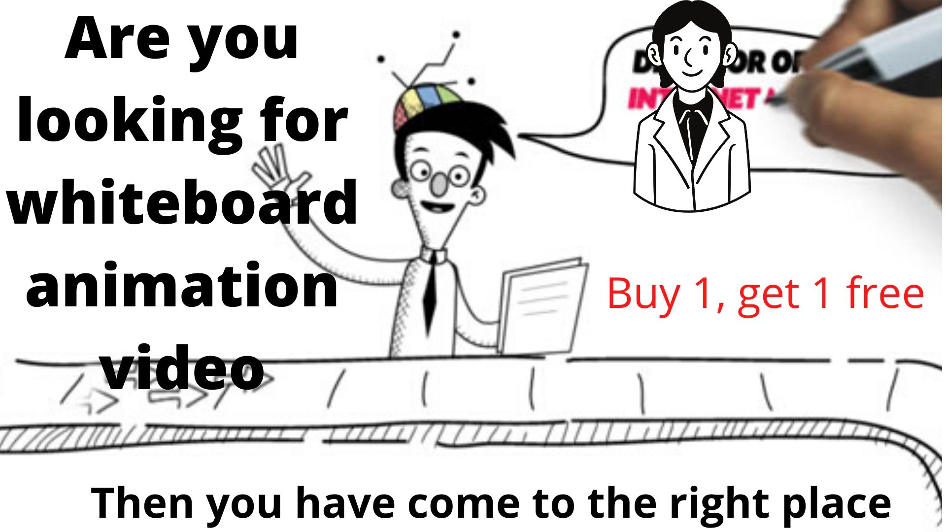 Get whiteboard video Animation + 1 free in any language of your choice