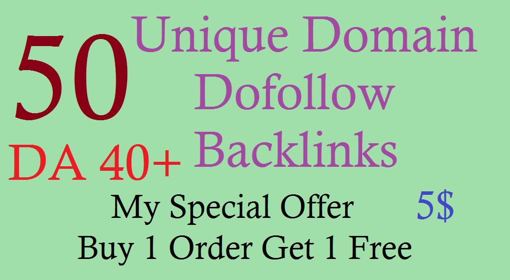 50 Unique Domain Dofollow Backlinks with DA 40plus