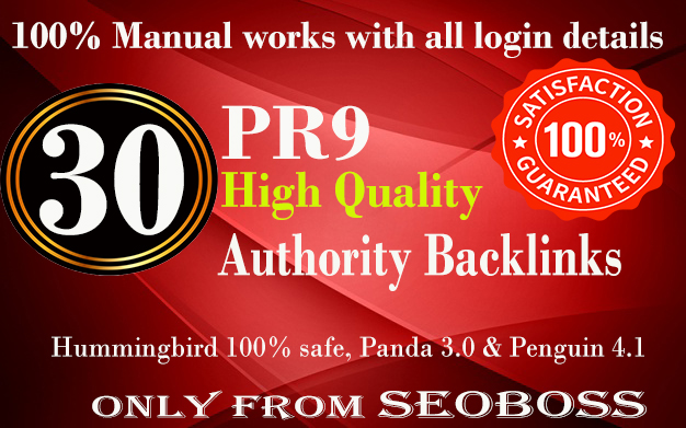 Manually Do 30 Pr9 DA 70+ Safe SEO High Authority Backlinks 30+ Domain HIGH QUALITY BACKLINKS