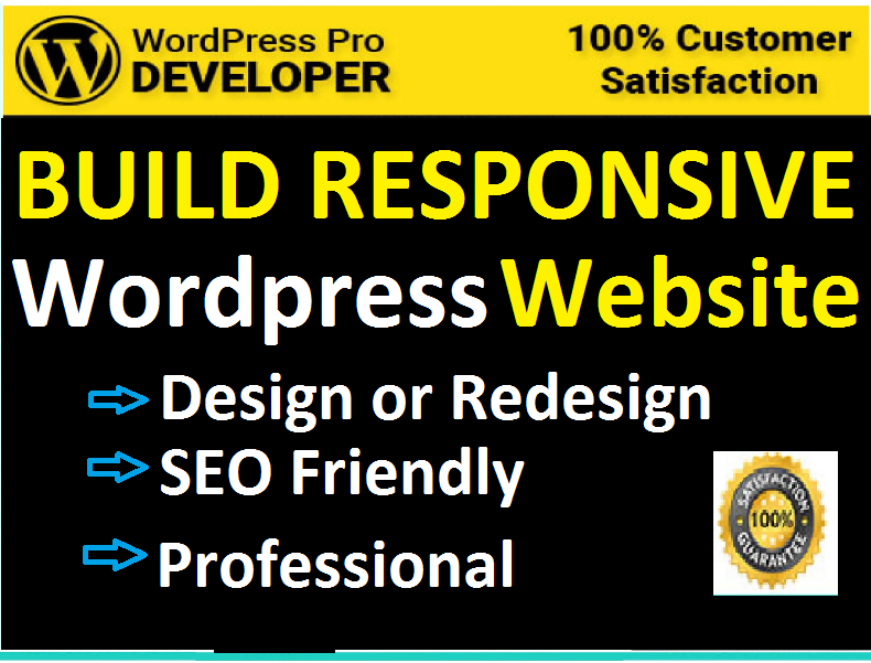 design or redesign responsive WordPress website,  develop WordPress site