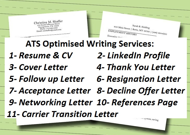 Resume,  CV,  Linked-in,  and any kind of Letter writing expert