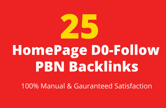 Provide 25 Homepage DoFollow PBN Backlinks Manual