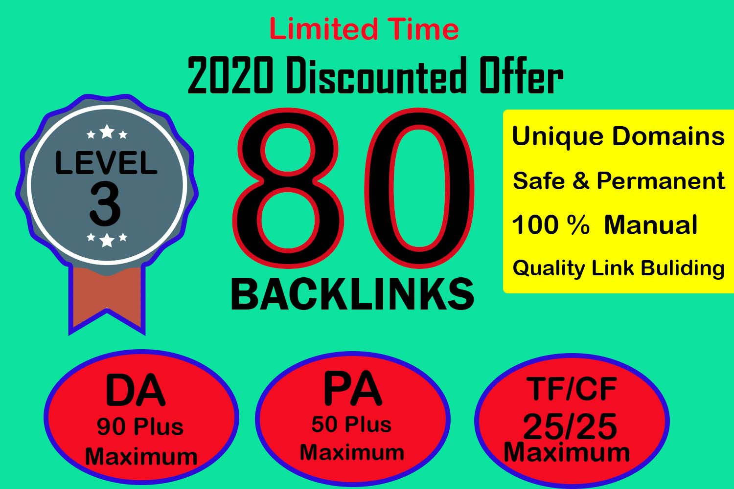 80 Manual Backlinks for Ranking On Google By Massive Authority Link Building 2020 Discounted offer