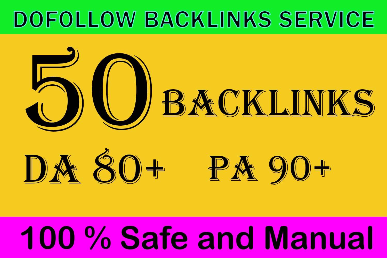 Get 50 backlinks High Authority DA 80+ To Rank Your website On google
