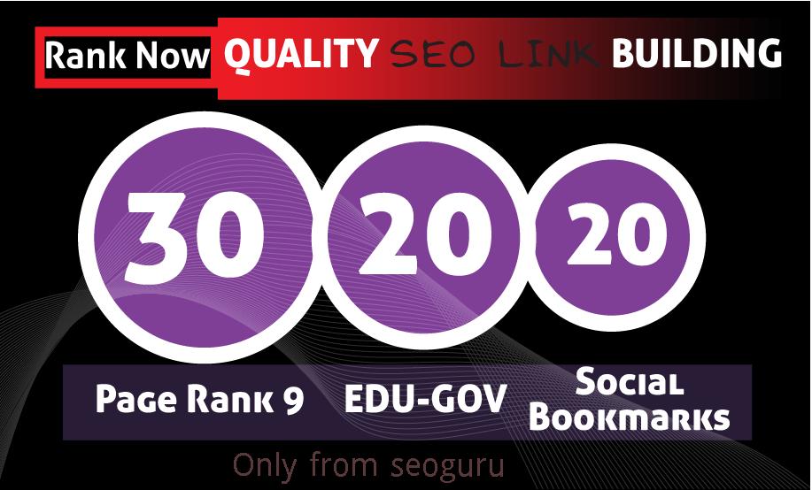 30 Pr9 + 20 Edu - Gov + 20 social Bookmark High Pr SEO Authority Backlinks