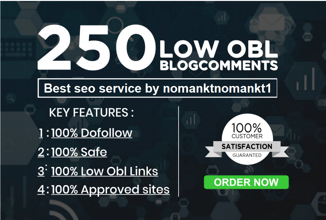 I will do 250 dofollow blog comments low obl