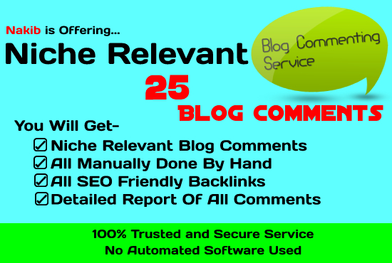 Boost Website SEO Rank WIth 25 Manual Niche Relevant Blog Comments On High PR Website