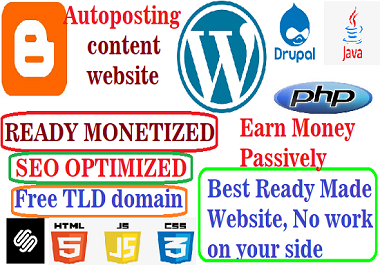 Autoposting website,  ready monetized,  SEO optimized and receiving organic traffic
